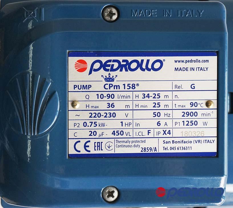 Máy bơm ITALY ly tâm Pedrollo CPm 158